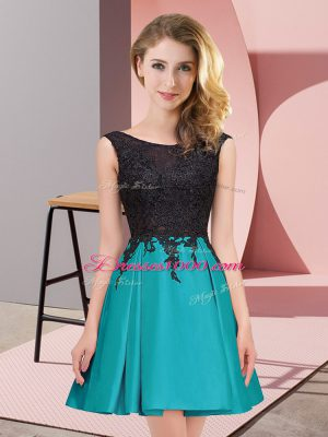 Mini Length Teal Court Dresses for Sweet 16 Satin Sleeveless Lace