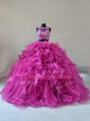 New Arrival Fuchsia Two Pieces Organza Scoop Sleeveless Beading and Ruffles Zipper Quinceanera Dress Brush Train
