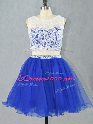 Royal Blue Sleeveless Mini Length Lace and Appliques Zipper