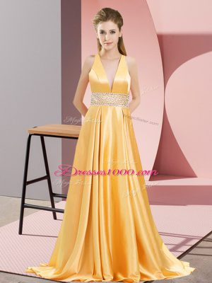 Exquisite Gold V-neck Neckline Beading Prom Party Dress Sleeveless Backless