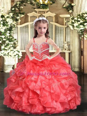 Coral Red Ball Gowns Beading and Ruffles Custom Made Lace Up Organza Sleeveless Floor Length
