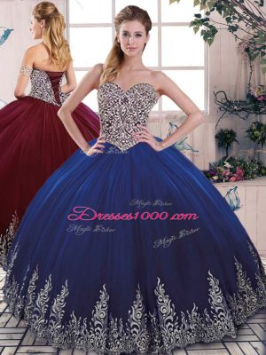 Royal Blue Lace Up Vestidos de Quinceanera Beading and Embroidery Sleeveless Floor Length