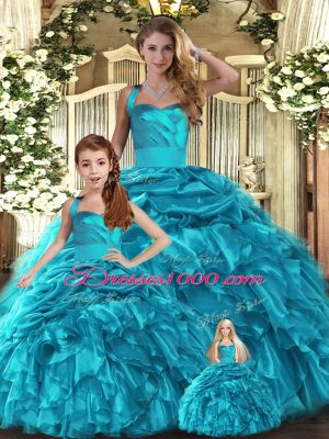 Floor Length Teal Sweet 16 Quinceanera Dress Organza Sleeveless Ruffles and Pick Ups