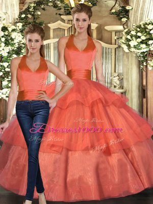 Floor Length Ball Gowns Sleeveless Orange 15th Birthday Dress Lace Up