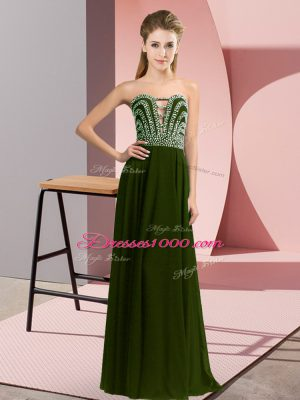 Best Floor Length Lace Up Evening Dress Olive Green for Prom and Party with Beading