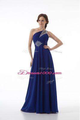 Beautiful Royal Blue Sleeveless Beading Floor Length Prom Gown