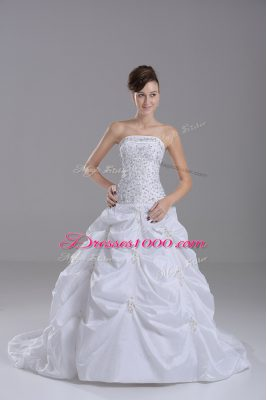 Superior White Sleeveless Beading and Pick Ups Lace Up Wedding Dress