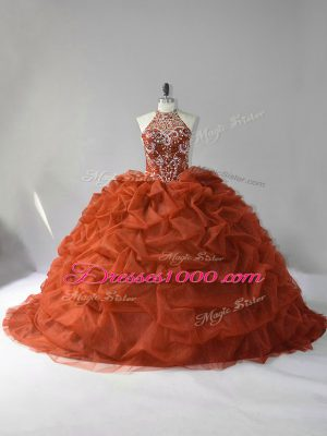 Top Selling Organza Sleeveless Sweet 16 Dress Court Train and Beading and Pick Ups
