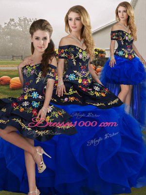 Floor Length Blue And Black Sweet 16 Quinceanera Dress Tulle Sleeveless Embroidery and Ruffles