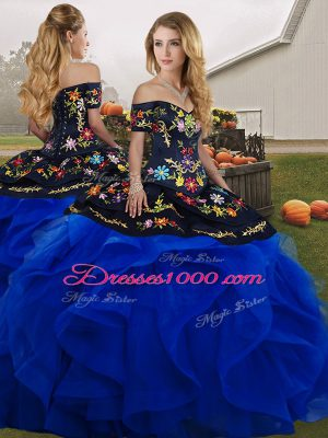 Flare Blue And Black Lace Up Off The Shoulder Embroidery and Ruffles Sweet 16 Dresses Tulle Sleeveless