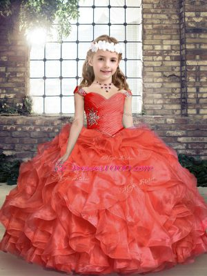 Coral Red Little Girls Pageant Dress Wholesale Party and Sweet 16 and Wedding Party with Beading and Ruching Straps Sleeveless Lace Up