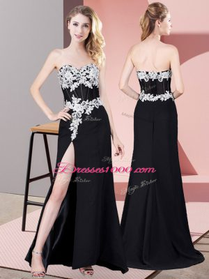 Flare Black Sleeveless Floor Length Lace and Appliques Zipper Celebrity Evening Dresses