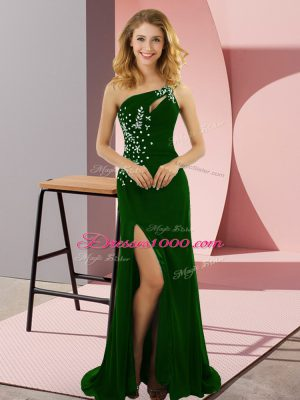 Green Lace Up One Shoulder Beading Prom Dresses Elastic Woven Satin Sleeveless Sweep Train