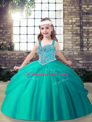 Aqua Blue Tulle Lace Up Spaghetti Straps Sleeveless Floor Length Pageant Gowns For Girls Beading