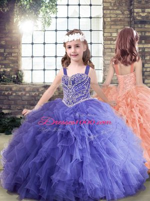 Unique Lavender Sleeveless Beading and Ruffles Floor Length Little Girl Pageant Dress