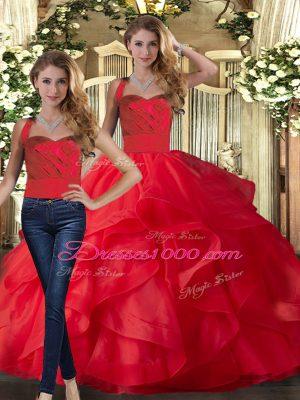 Halter Top Sleeveless Tulle Vestidos de Quinceanera Ruffles Lace Up
