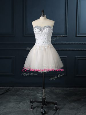 Affordable Mini Length Lace Up Wedding Gowns Champagne for Wedding Party with Beading and Lace