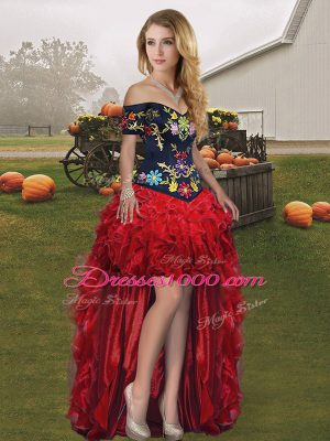 Deluxe Organza Off The Shoulder Sleeveless Lace Up Embroidery and Ruffles Prom Gown in Wine Red