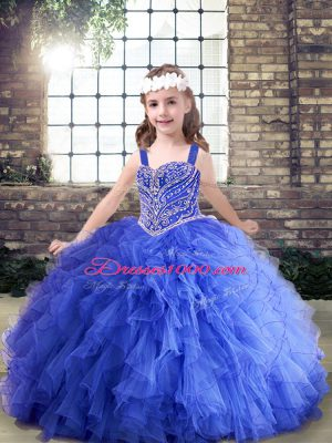 Dramatic Floor Length Lace Up Pageant Gowns For Girls Blue for Party and Wedding Party with Beading and Ruffles