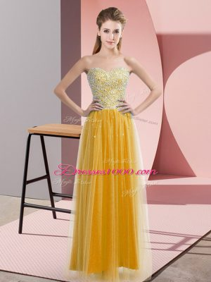 Deluxe Beading Pageant Dress for Teens Gold Lace Up Sleeveless Floor Length