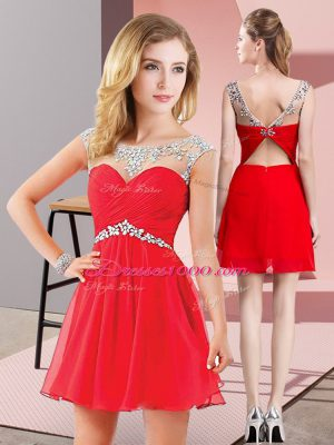 Red A-line Chiffon Scoop Sleeveless Beading Mini Length Backless Prom Dresses