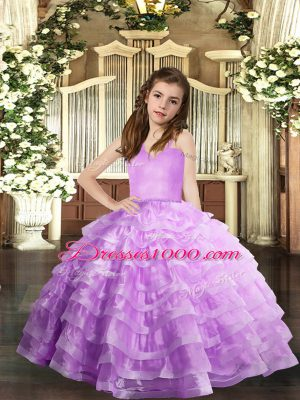 Lavender Straps Neckline Ruffled Layers Little Girls Pageant Gowns Sleeveless Lace Up