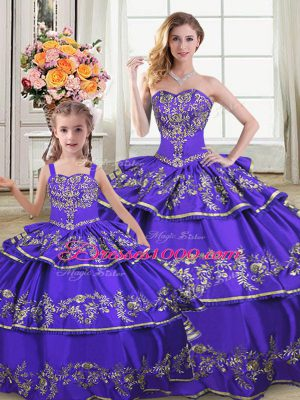 Inexpensive Strapless Sleeveless Satin and Organza Quinceanera Gown Embroidery and Ruffled Layers Lace Up
