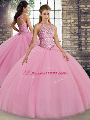 Lovely Floor Length Ball Gowns Sleeveless Pink Ball Gown Prom Dress Lace Up