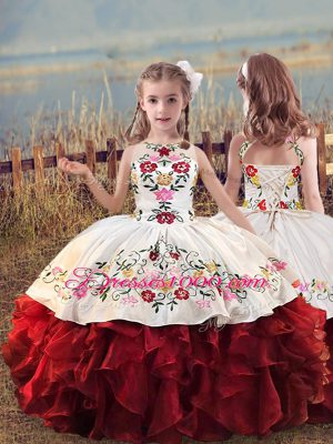 Beauteous White And Red Organza Lace Up Scoop Sleeveless Floor Length Kids Formal Wear Embroidery and Ruffles