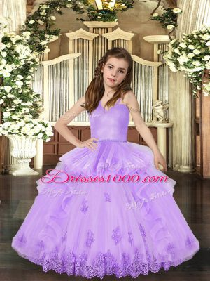 Fantastic Sleeveless Appliques Lace Up Party Dress Wholesale