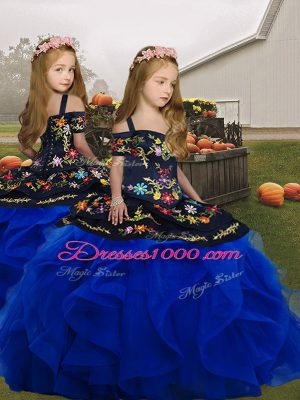 Superior Royal Blue Sleeveless Floor Length Embroidery and Ruffles Lace Up Little Girl Pageant Dress
