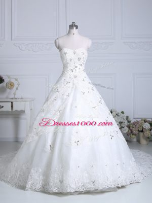 Custom Fit Lace Up Wedding Dresses White for Wedding Party with Beading and Lace Chapel Train