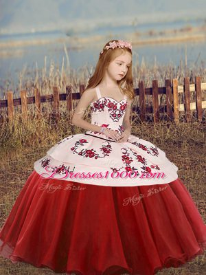 Red Straps Neckline Embroidery Child Pageant Dress Sleeveless Lace Up