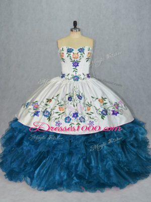 Deluxe Organza Sweetheart Sleeveless Lace Up Embroidery and Ruffles Quinceanera Dress in Blue