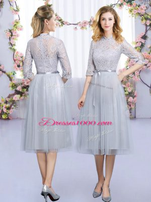 Grey Wedding Guest Dresses Wedding Party with Lace and Belt High-neck Half Sleeves Zipper