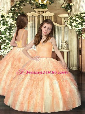 Orange Straps Neckline Ruffles Little Girl Pageant Gowns Sleeveless Lace Up