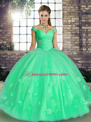 Turquoise and Apple Green Off The Shoulder Neckline Beading and Appliques Ball Gown Prom Dress Sleeveless Lace Up