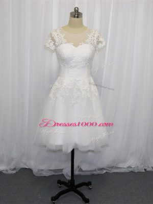 Attractive Scoop Short Sleeves Wedding Dresses Mini Length Lace White Tulle