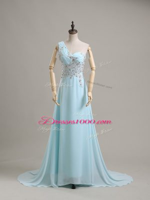 Super Sleeveless Chiffon Brush Train Side Zipper Dress for Prom in Baby Blue with Beading