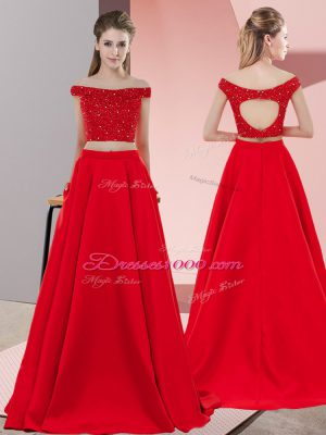 Beauteous Off The Shoulder Sleeveless Elastic Woven Satin Dress for Prom Beading Sweep Train Backless