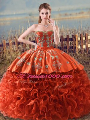 Orange Red Lace Up Quinceanera Dress Embroidery and Ruffles Sleeveless Floor Length Brush Train
