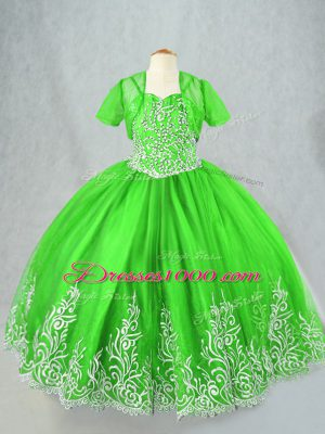 Spaghetti Straps Lace Up Beading and Embroidery Pageant Dress Toddler Sleeveless