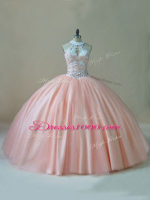 Delicate Beading and Lace 15 Quinceanera Dress Peach Lace Up Sleeveless Floor Length