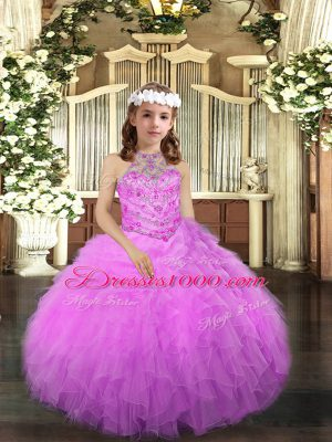 Luxurious Lilac Tulle Lace Up Halter Top Sleeveless Floor Length Little Girl Pageant Dress Beading and Ruffles