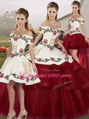 Wine Red Ball Gowns Tulle Off The Shoulder Sleeveless Embroidery and Ruffled Layers Lace Up 15th Birthday Dress Brush Train