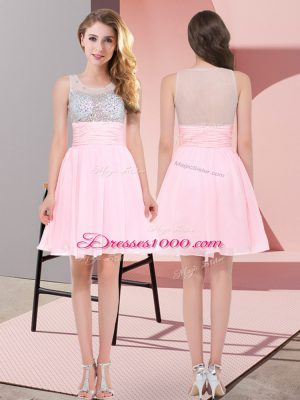 Flirting Chiffon Scoop Sleeveless Side Zipper Beading Damas Dress in Baby Pink