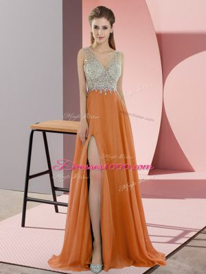 Pretty Orange Chiffon Sweep Train Sleeveless Beading