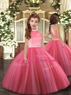 Fantastic High-neck Sleeveless Tulle Pageant Gowns For Girls Beading Zipper
