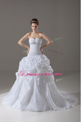 White Lace Up Bridal Gown Beading and Pick Ups Sleeveless Brush Train