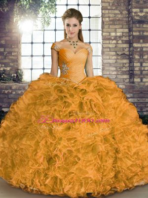 Floor Length Ball Gowns Sleeveless Orange Quince Ball Gowns Lace Up
